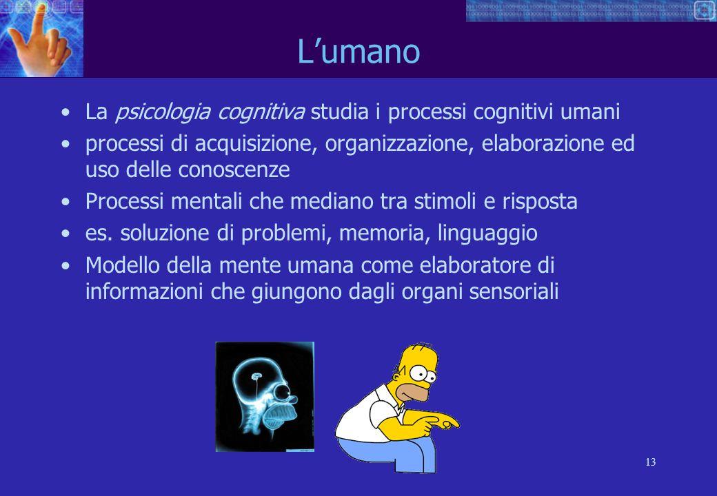 13 Lumano La psicologia cognitiva studia i processi cognitivi umani processi di acquisizione, organizzazione, elaborazione ed uso delle conoscenze Processi mentali che mediano tra stimoli e risposta es.