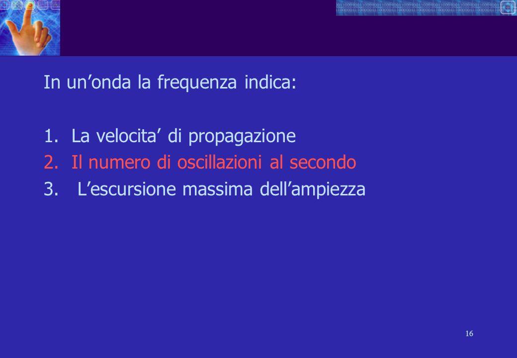 16 In unonda la frequenza indica: 1.La velocita di propagazione 2.Il numero di oscillazioni al secondo 3.