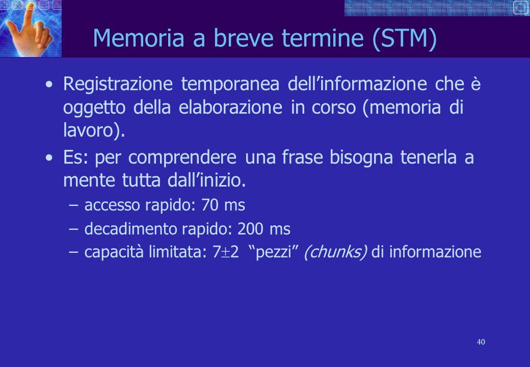 40 Memoria a breve termine (STM) Registrazione temporanea dellinformazione che è oggetto della elaborazione in corso (memoria di lavoro).