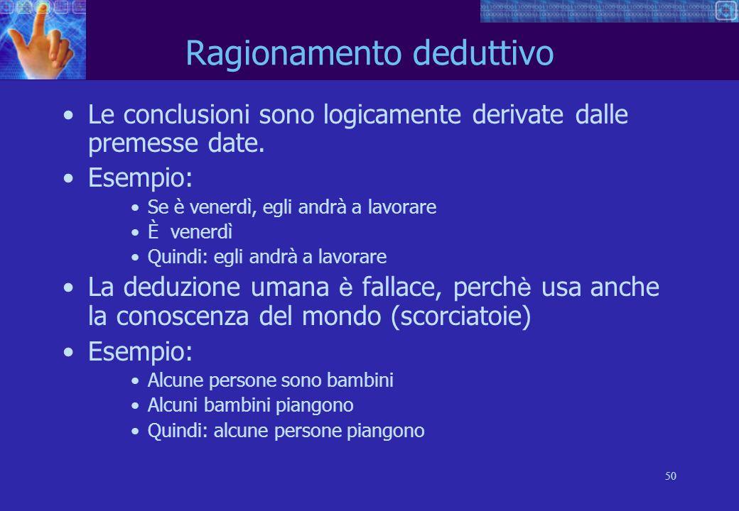 50 Ragionamento deduttivo Le conclusioni sono logicamente derivate dalle premesse date.