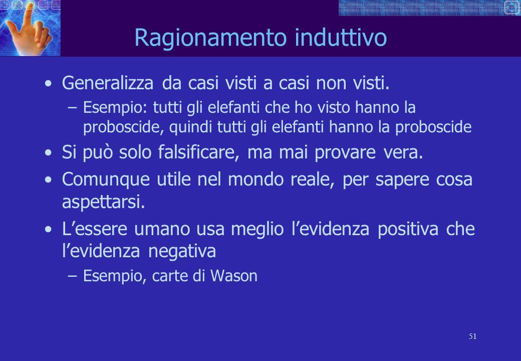 51 Ragionamento induttivo Generalizza da casi visti a casi non visti.