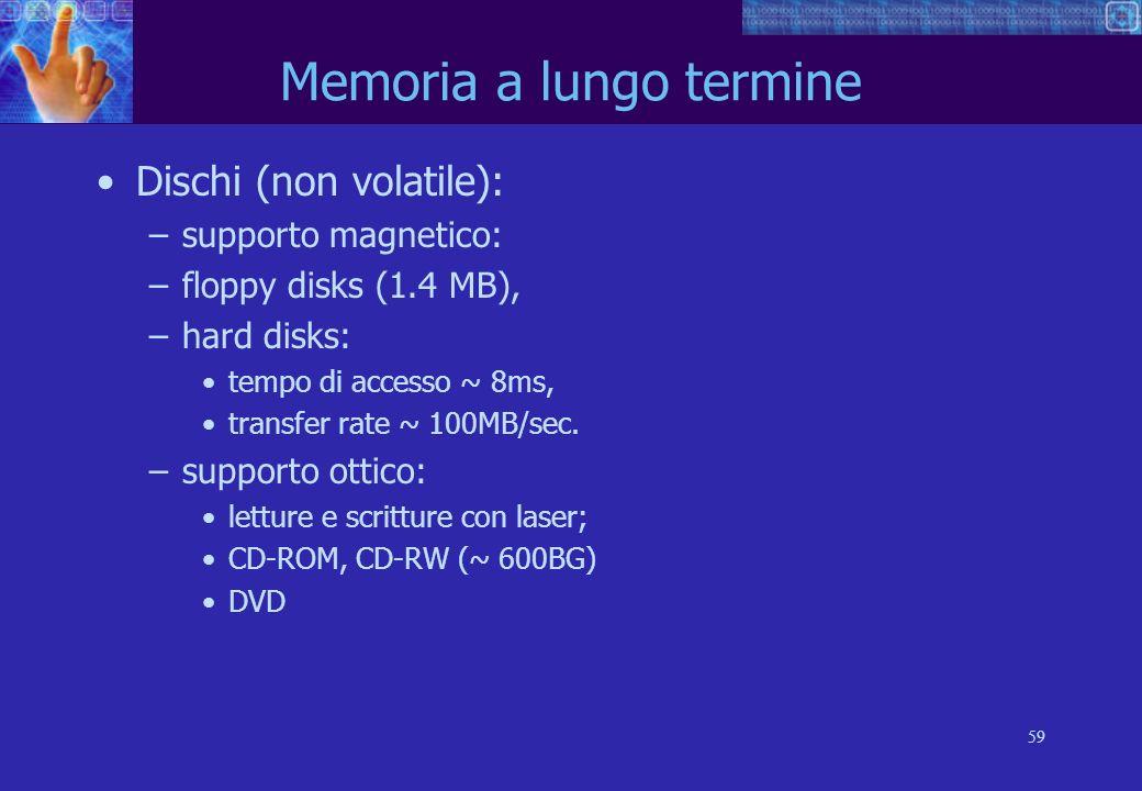 59 Memoria a lungo termine Dischi (non volatile): –supporto magnetico: –floppy disks (1.4 MB), –hard disks: tempo di accesso ~ 8ms, transfer rate ~ 100MB/sec.