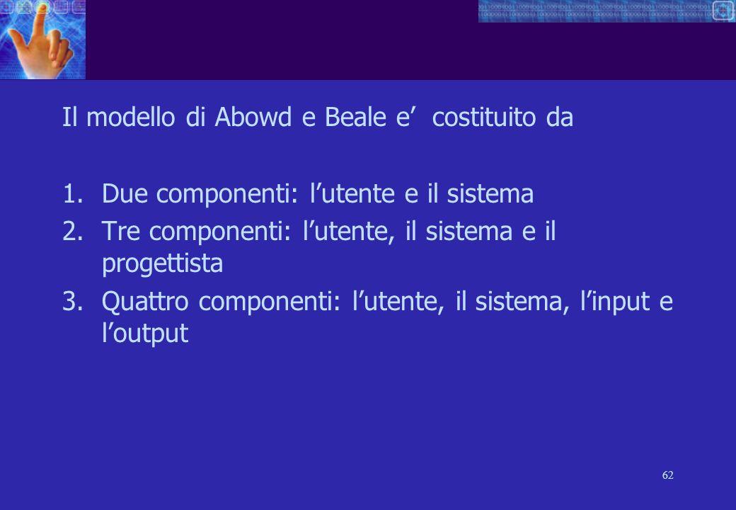 62 Il modello di Abowd e Beale e costituito da 1.Due componenti: lutente e il sistema 2.Tre componenti: lutente, il sistema e il progettista 3.Quattro componenti: lutente, il sistema, linput e loutput