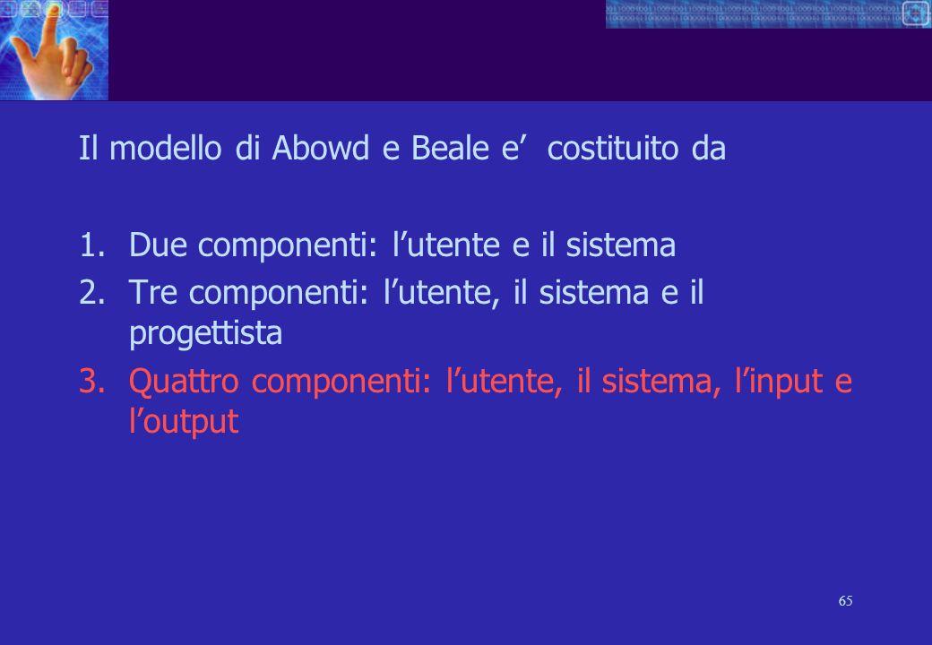 65 Il modello di Abowd e Beale e costituito da 1.Due componenti: lutente e il sistema 2.Tre componenti: lutente, il sistema e il progettista 3.Quattro componenti: lutente, il sistema, linput e loutput
