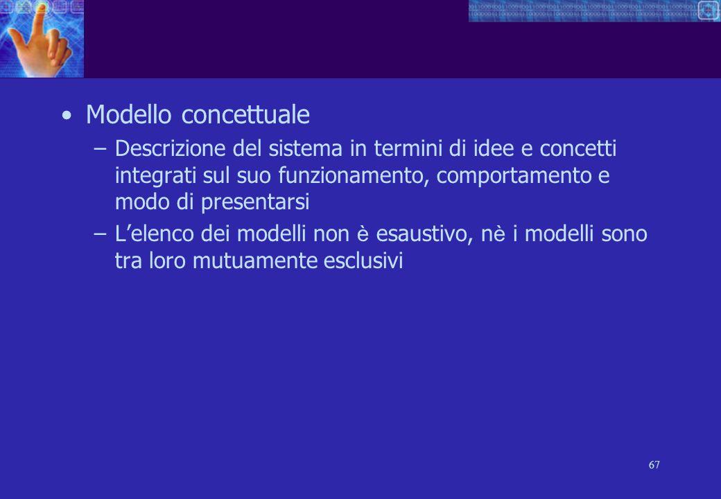 67 Modello concettuale –Descrizione del sistema in termini di idee e concetti integrati sul suo funzionamento, comportamento e modo di presentarsi –Lelenco dei modelli non è esaustivo, n è i modelli sono tra loro mutuamente esclusivi