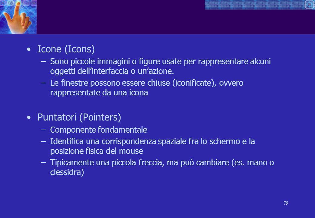 79 Icone (Icons) –Sono piccole immagini o figure usate per rappresentare alcuni oggetti dellinterfaccia o unazione.