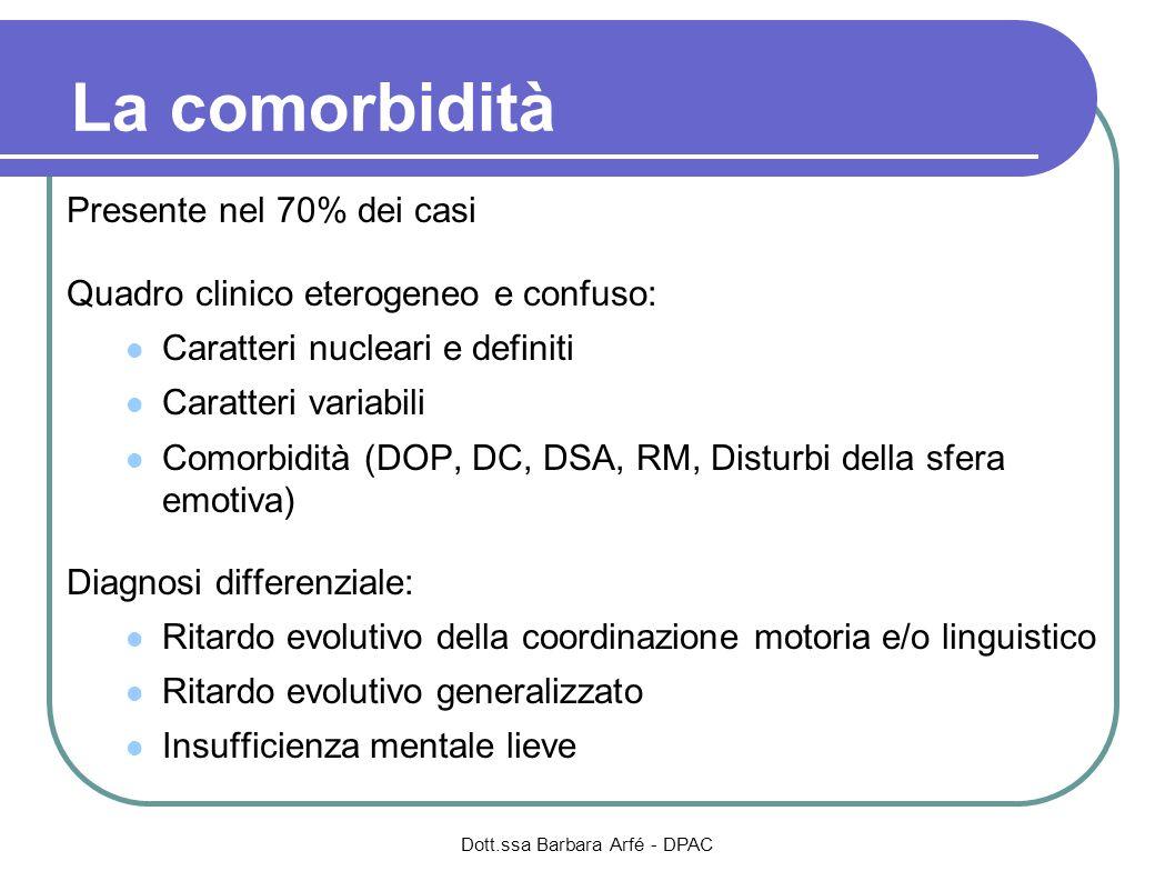 La comorbidità Presente nel 70% dei casi Quadro clinico eterogeneo e confuso: Caratteri nucleari e definiti Caratteri variabili Comorbidità (DOP, DC,