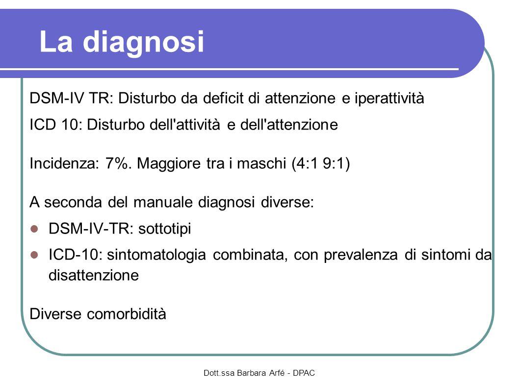 La diagnosi DSM-IV TR: Disturbo da deficit di attenzione e iperattività ICD 10: Disturbo dell'attività e dell'attenzione Incidenza: 7%. Maggiore tra i
