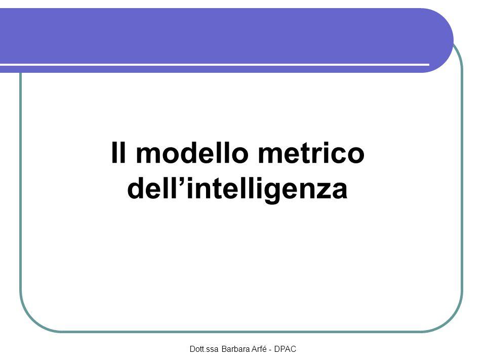 Il modello metrico dellintelligenza Dott.ssa Barbara Arfé - DPAC