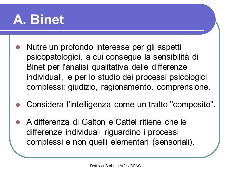 A. Binet Nutre un profondo interesse per gli aspetti psicopatologici, a cui consegue la sensibilità di Binet per l'analisi qualitativa delle differenz