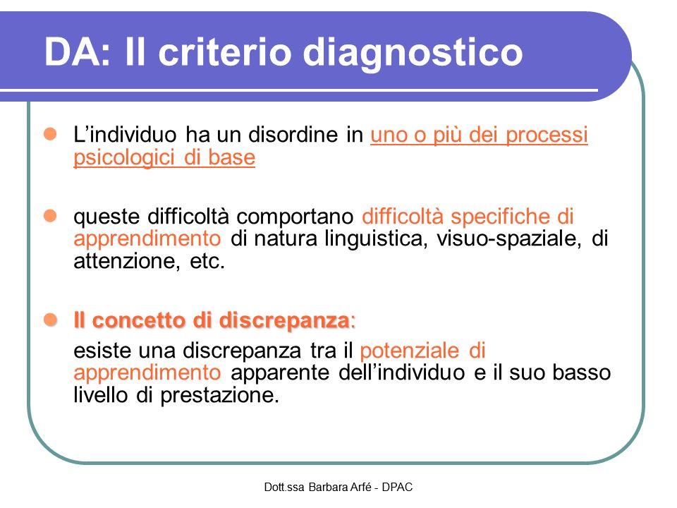 DA: Il criterio diagnostico Lindividuo ha un disordine in uno o più dei processi psicologici di base queste difficoltà comportano difficoltà specifiche di apprendimento di natura linguistica, visuo-spaziale, di attenzione, etc.