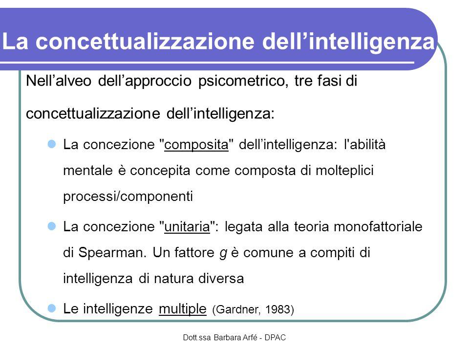 La concettualizzazione dellintelligenza Nellalveo dellapproccio psicometrico, tre fasi di concettualizzazione dellintelligenza: La concezione composita dellintelligenza: l abilità mentale è concepita come composta di molteplici processi/componenti La concezione unitaria : legata alla teoria monofattoriale di Spearman.