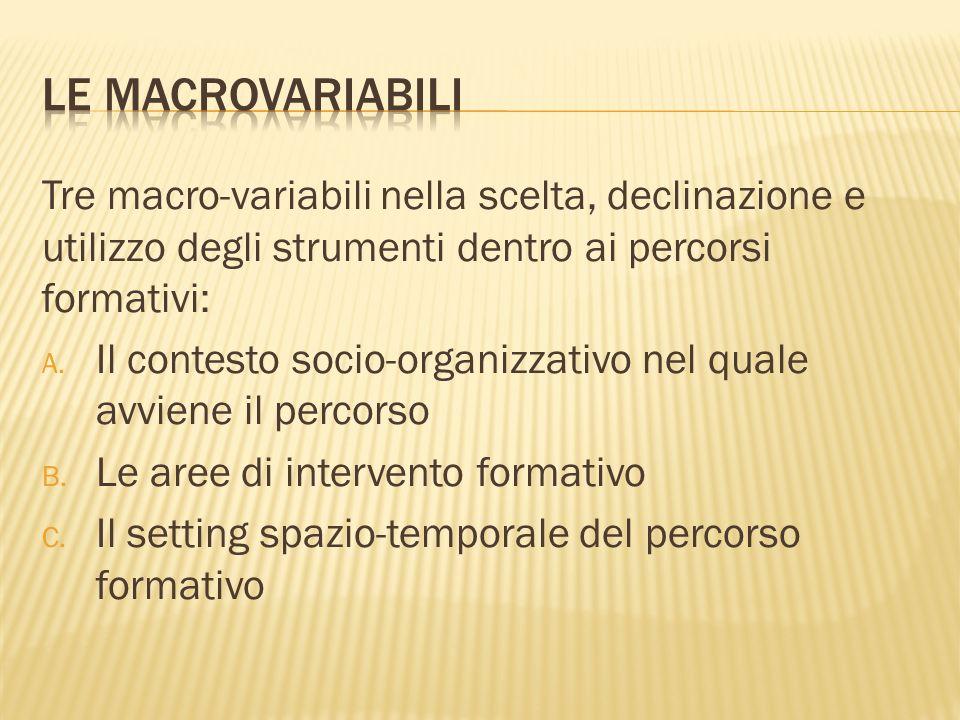 Tre macro-variabili nella scelta, declinazione e utilizzo degli strumenti dentro ai percorsi formativi: A.