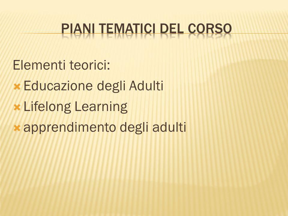 Elementi teorici: Educazione degli Adulti Lifelong Learning apprendimento degli adulti