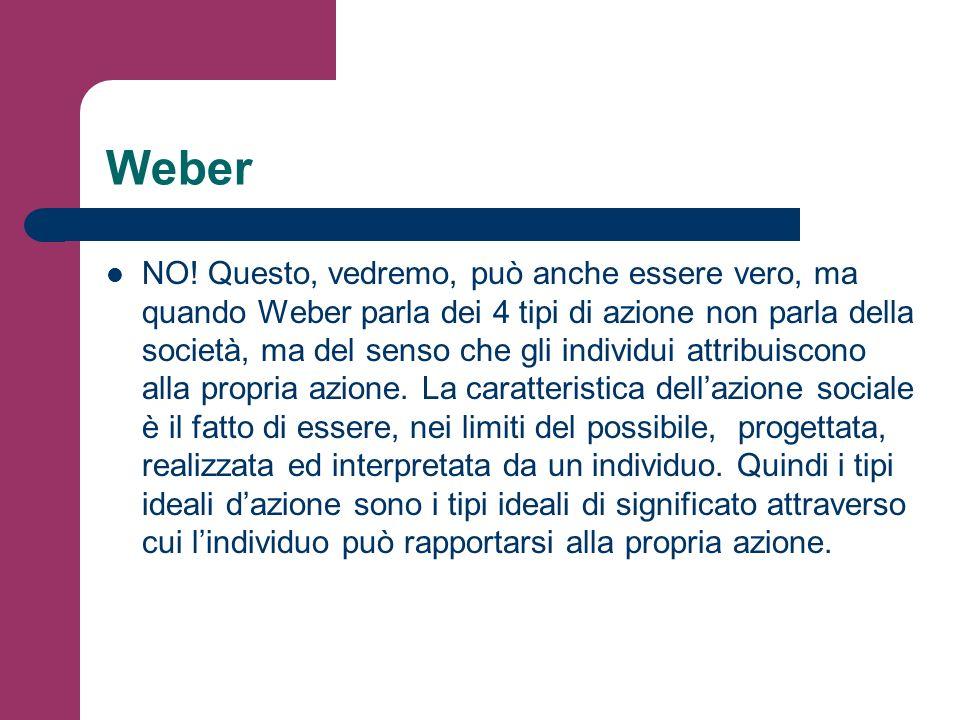 Weber NO! Questo, vedremo, può anche essere vero, ma quando Weber parla dei 4 tipi di azione non parla della società, ma del senso che gli individui a