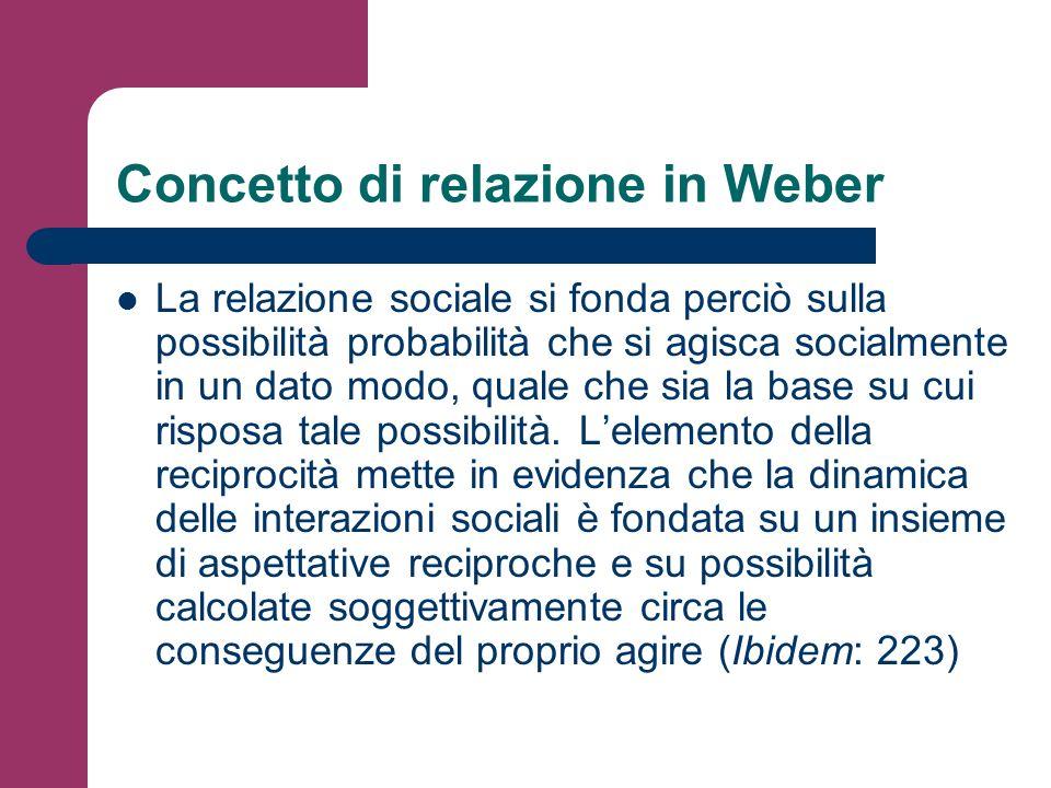 Concetto di relazione in Weber La relazione sociale si fonda perciò sulla possibilità probabilità che si agisca socialmente in un dato modo, quale che