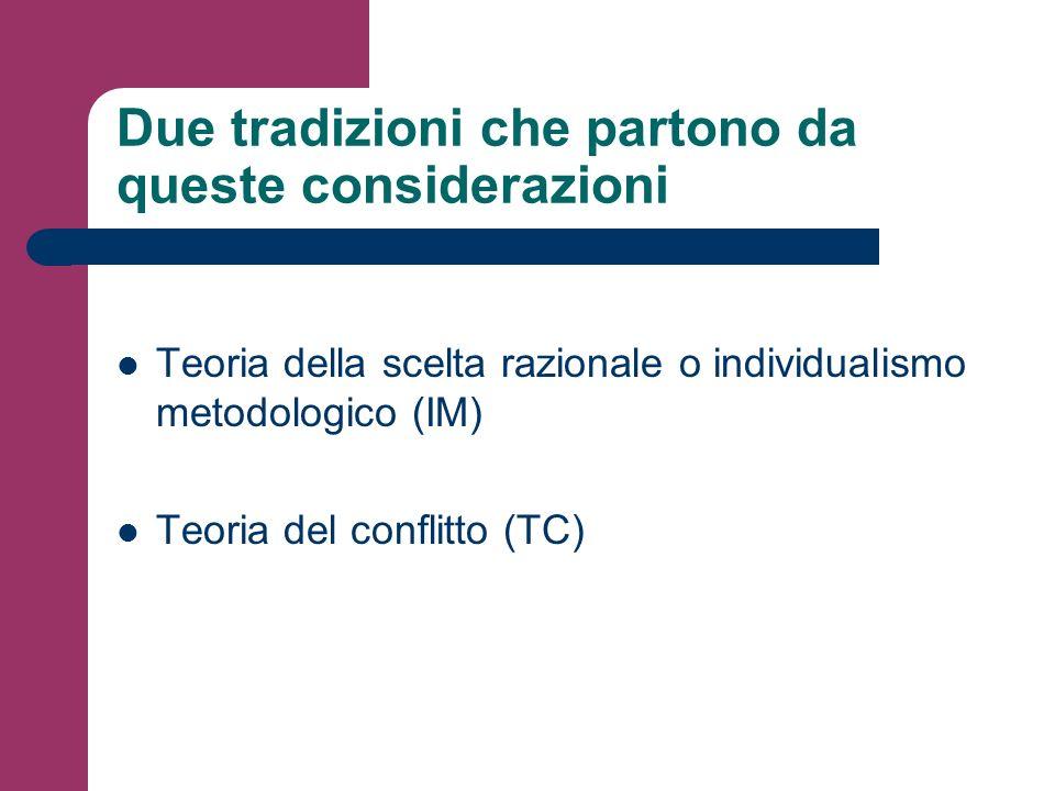Due tradizioni che partono da queste considerazioni Teoria della scelta razionale o individualismo metodologico (IM) Teoria del conflitto (TC)