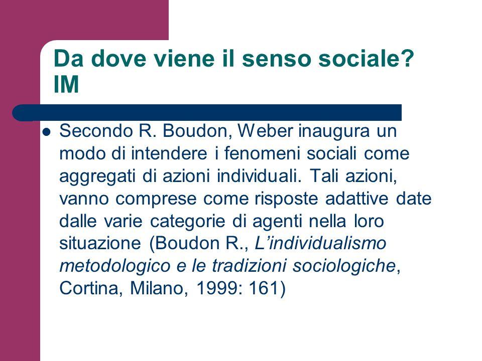 Da dove viene il senso sociale? IM Secondo R. Boudon, Weber inaugura un modo di intendere i fenomeni sociali come aggregati di azioni individuali. Tal