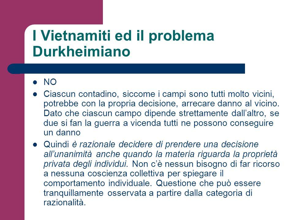 I Vietnamiti ed il problema Durkheimiano NO Ciascun contadino, siccome i campi sono tutti molto vicini, potrebbe con la propria decisione, arrecare da