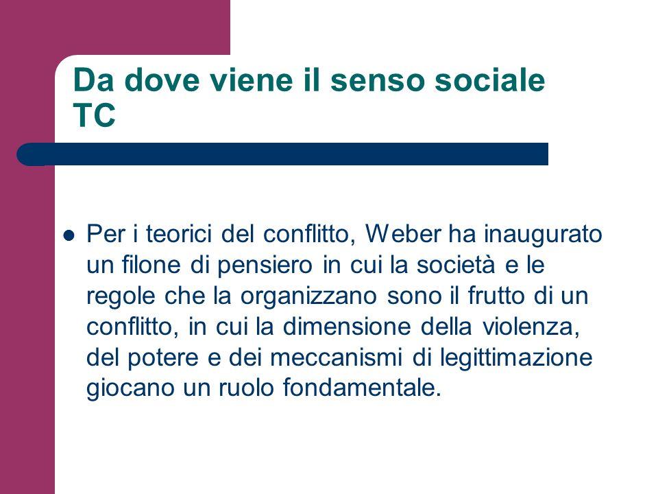 Da dove viene il senso sociale TC Per i teorici del conflitto, Weber ha inaugurato un filone di pensiero in cui la società e le regole che la organizz