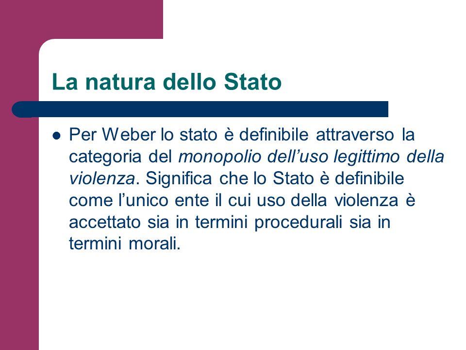 La natura dello Stato Per Weber lo stato è definibile attraverso la categoria del monopolio delluso legittimo della violenza. Significa che lo Stato è
