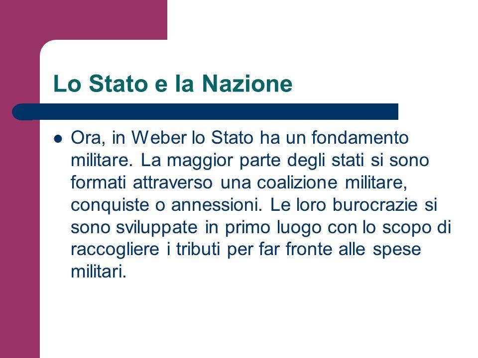 Lo Stato e la Nazione Ora, in Weber lo Stato ha un fondamento militare. La maggior parte degli stati si sono formati attraverso una coalizione militar