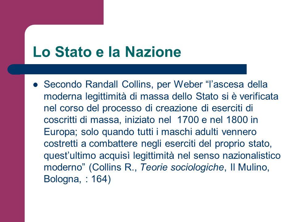 Lo Stato e la Nazione Secondo Randall Collins, per Weber lascesa della moderna legittimità di massa dello Stato si è verificata nel corso del processo
