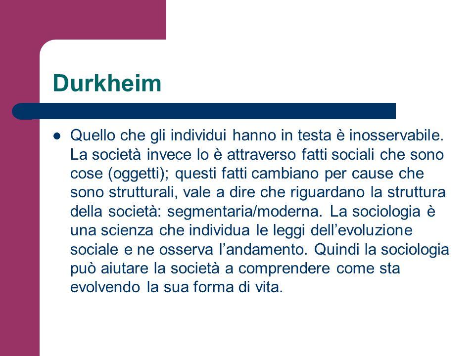 Durkheim Quello che gli individui hanno in testa è inosservabile. La società invece lo è attraverso fatti sociali che sono cose (oggetti); questi fatt