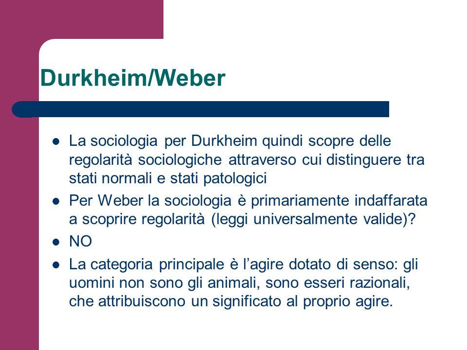 Durkheim/Weber La sociologia per Durkheim quindi scopre delle regolarità sociologiche attraverso cui distinguere tra stati normali e stati patologici