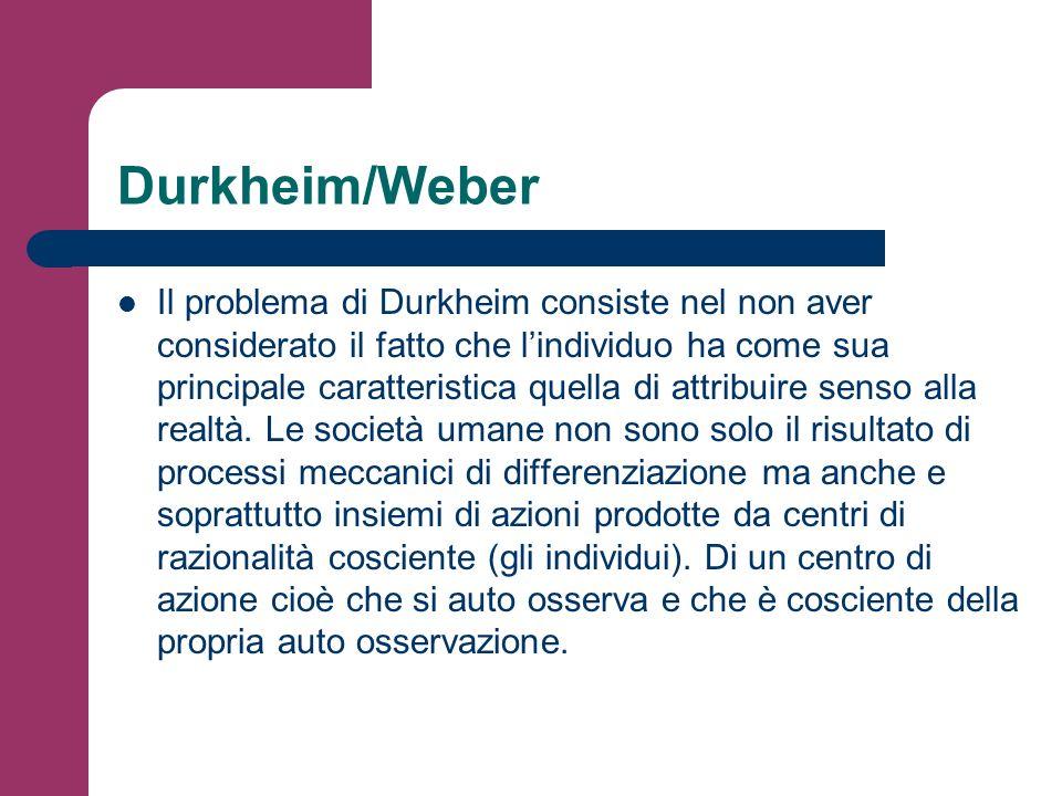 Durkheim/Weber Il problema di Durkheim consiste nel non aver considerato il fatto che lindividuo ha come sua principale caratteristica quella di attri
