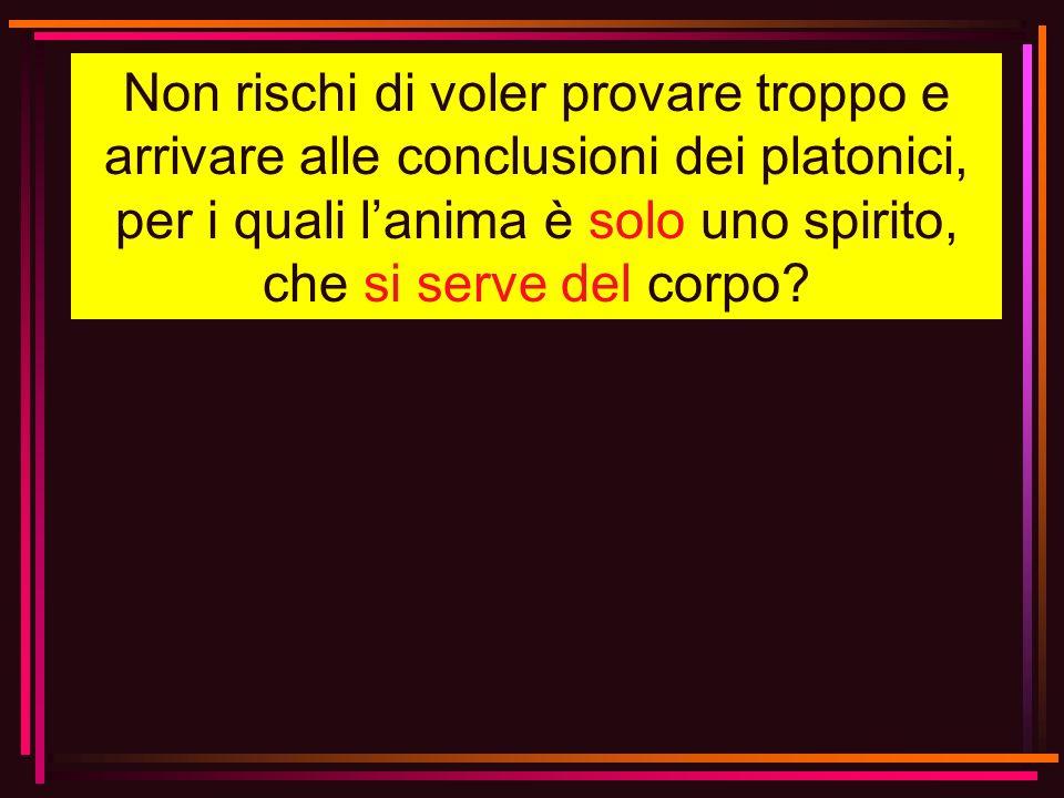 Non rischi di voler provare troppo e arrivare alle conclusioni dei platonici, per i quali lanima è solo uno spirito, che si serve del corpo?