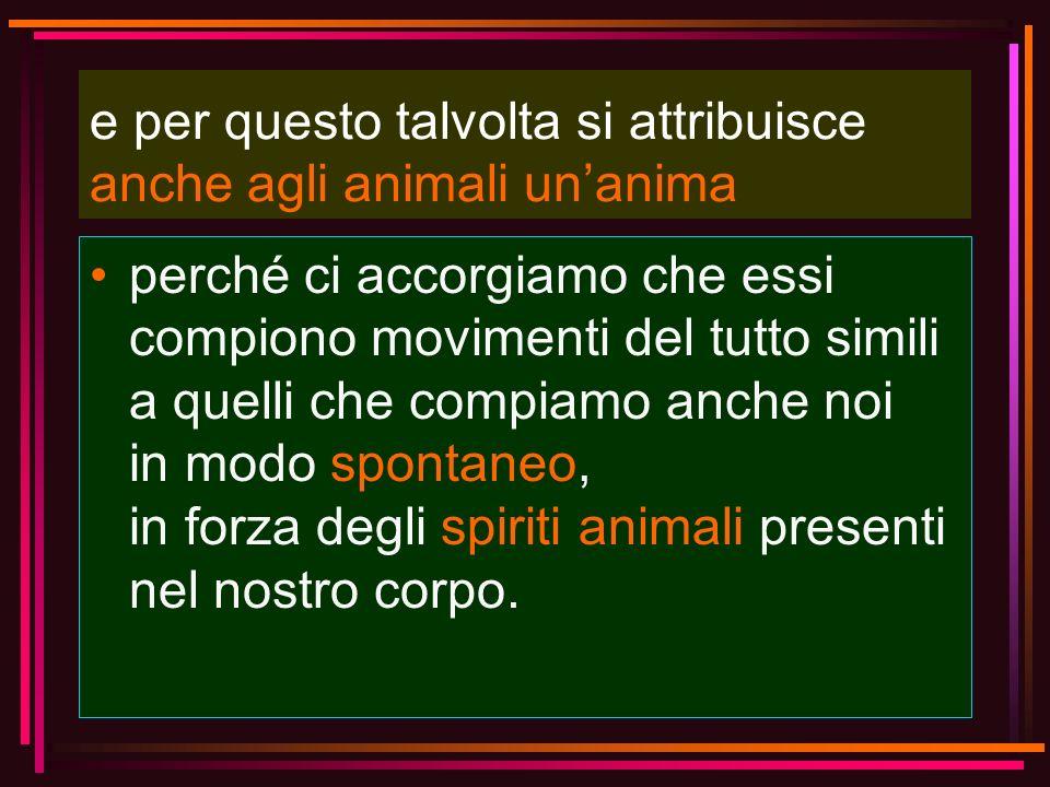 e per questo talvolta si attribuisce anche agli animali unanima perché ci accorgiamo che essi compiono movimenti del tutto simili a quelli che compiam