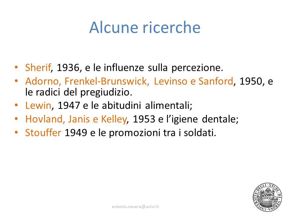 Alcune ricerche Sherif, 1936, e le influenze sulla percezione.