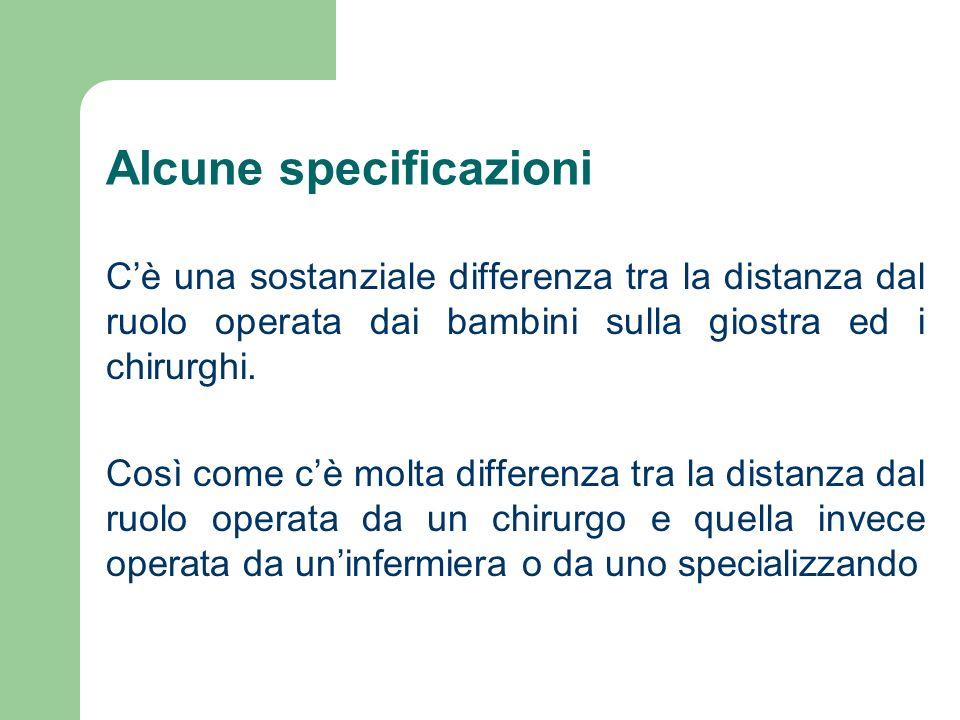 Alcune specificazioni Cè una sostanziale differenza tra la distanza dal ruolo operata dai bambini sulla giostra ed i chirurghi.