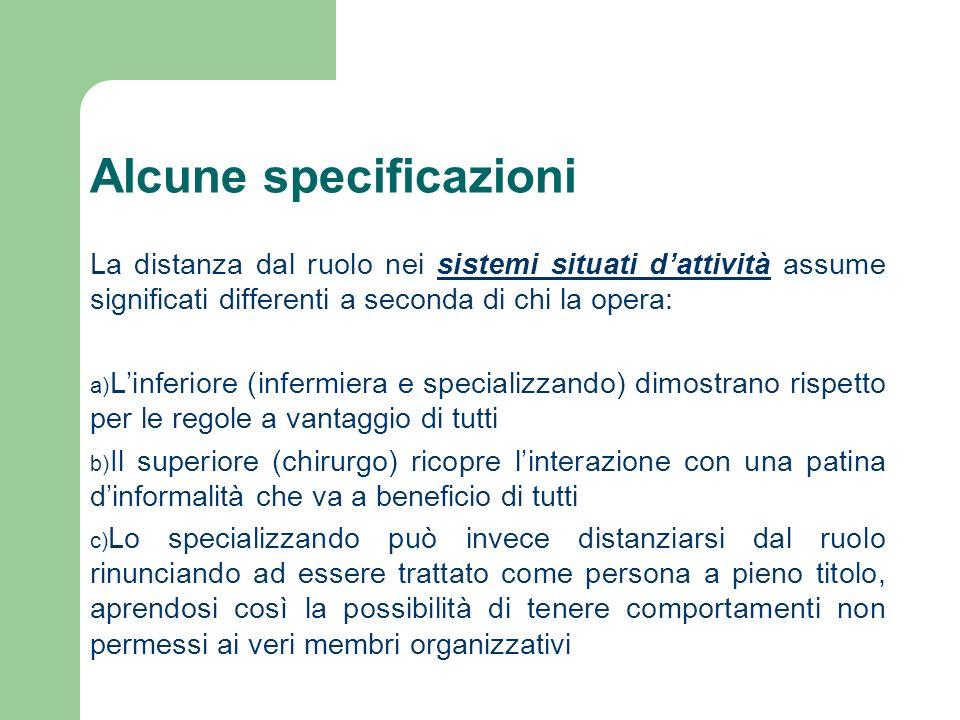 Alcune specificazioni La distanza dal ruolo nei sistemi situati dattività assume significati differenti a seconda di chi la opera: a) Linferiore (infe