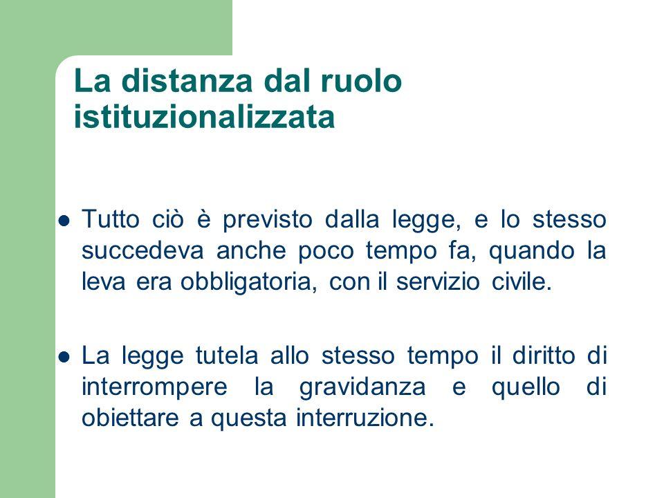 La distanza dal ruolo istituzionalizzata Tutto ciò è previsto dalla legge, e lo stesso succedeva anche poco tempo fa, quando la leva era obbligatoria, con il servizio civile.