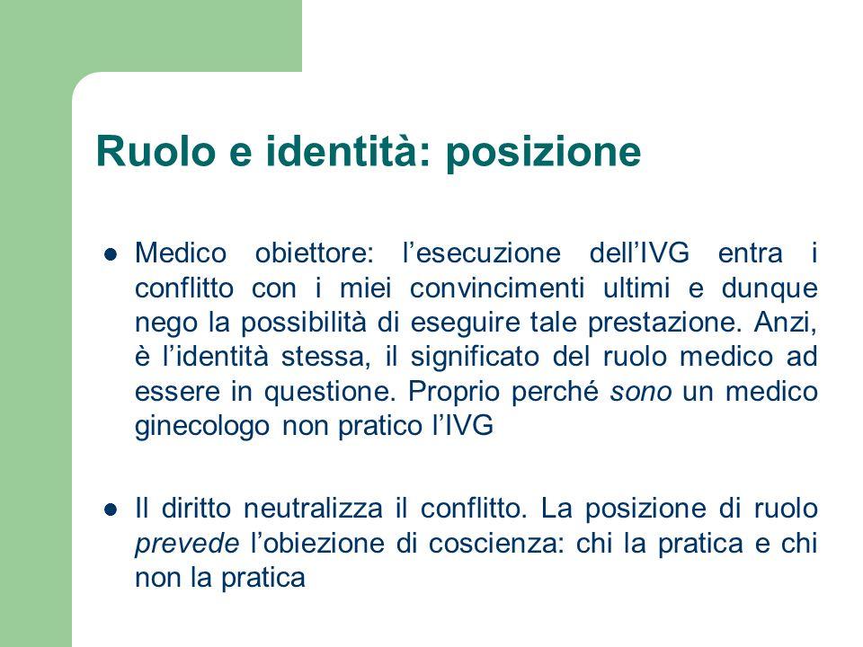 Ruolo e identità: posizione Medico obiettore: lesecuzione dellIVG entra i conflitto con i miei convincimenti ultimi e dunque nego la possibilità di eseguire tale prestazione.