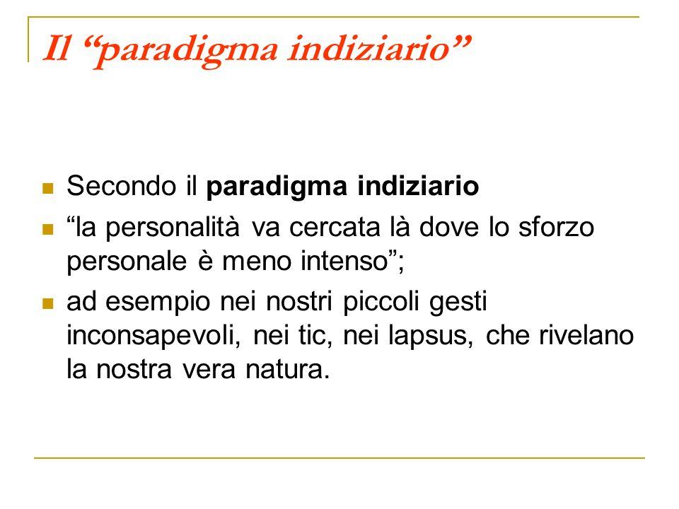 Il paradigma indiziario Secondo il paradigma indiziario la personalità va cercata là dove lo sforzo personale è meno intenso; ad esempio nei nostri pi
