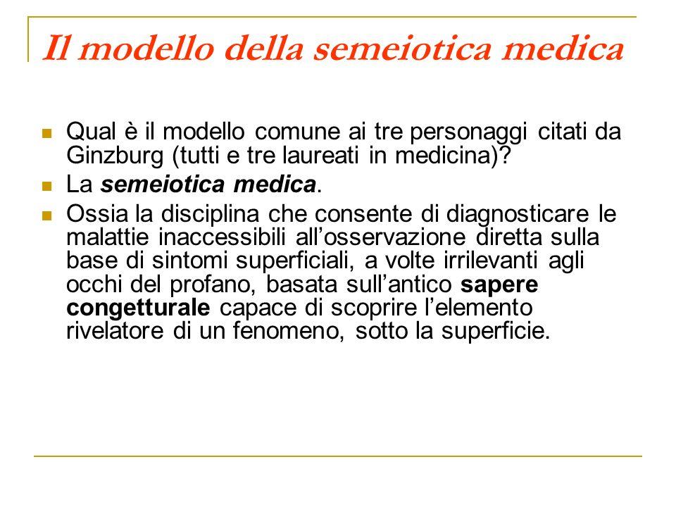 Il modello della semeiotica medica Qual è il modello comune ai tre personaggi citati da Ginzburg (tutti e tre laureati in medicina)? La semeiotica med