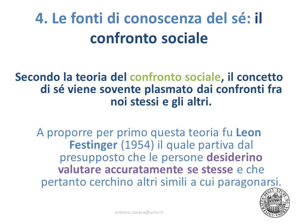 4. Le fonti di conoscenza del sé: il confronto sociale Secondo la teoria del confronto sociale, il concetto di sé viene sovente plasmato dai confronti
