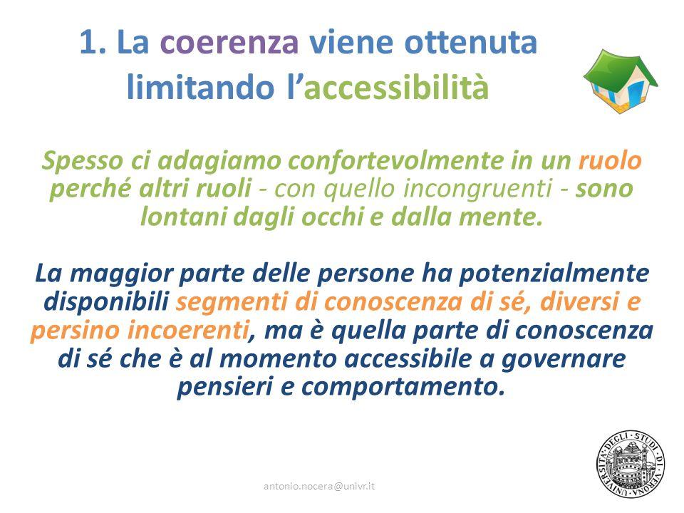 1. La coerenza viene ottenuta limitando laccessibilità Spesso ci adagiamo confortevolmente in un ruolo perché altri ruoli - con quello incongruenti -
