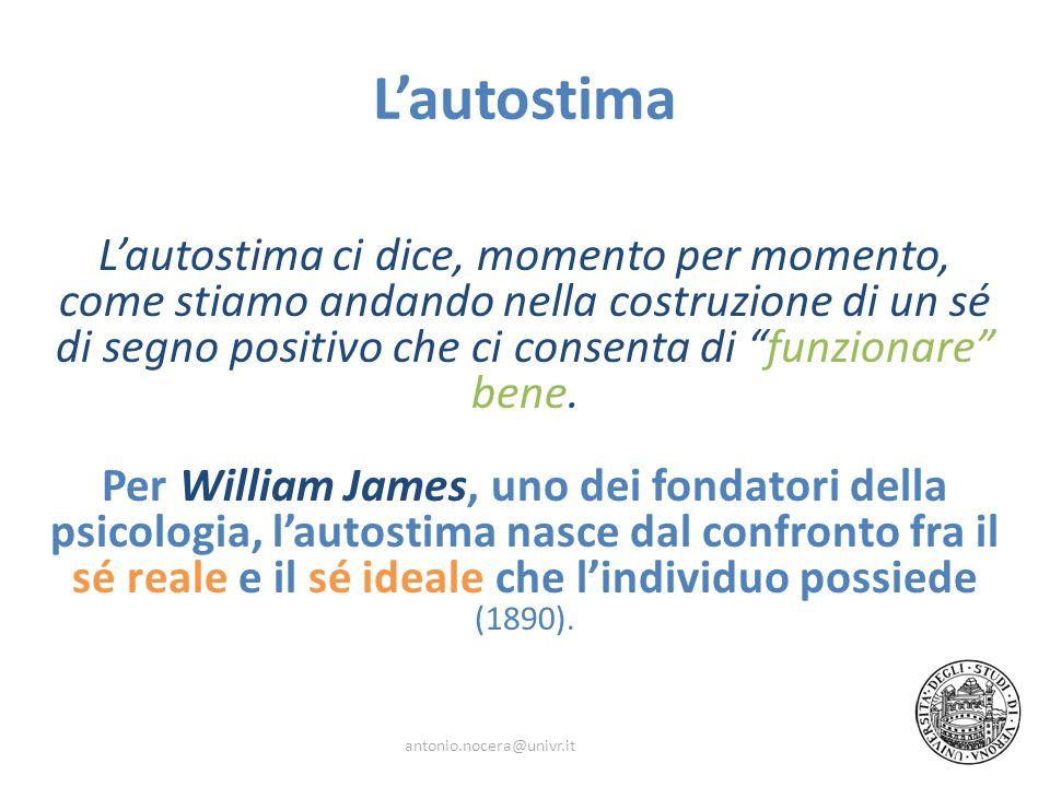 Lautostima Lautostima ci dice, momento per momento, come stiamo andando nella costruzione di un sé di segno positivo che ci consenta di funzionare ben