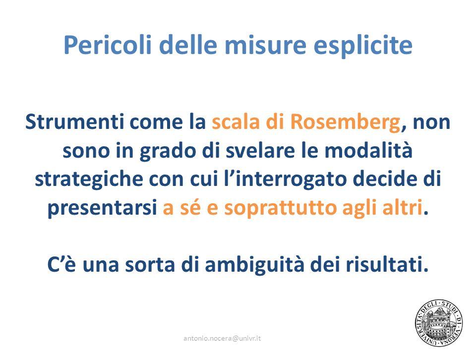 Pericoli delle misure esplicite Strumenti come la scala di Rosemberg, non sono in grado di svelare le modalità strategiche con cui linterrogato decide