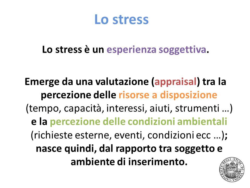 Lo stress Lo stress è un esperienza soggettiva. Emerge da una valutazione (appraisal) tra la percezione delle risorse a disposizione (tempo, capacità,