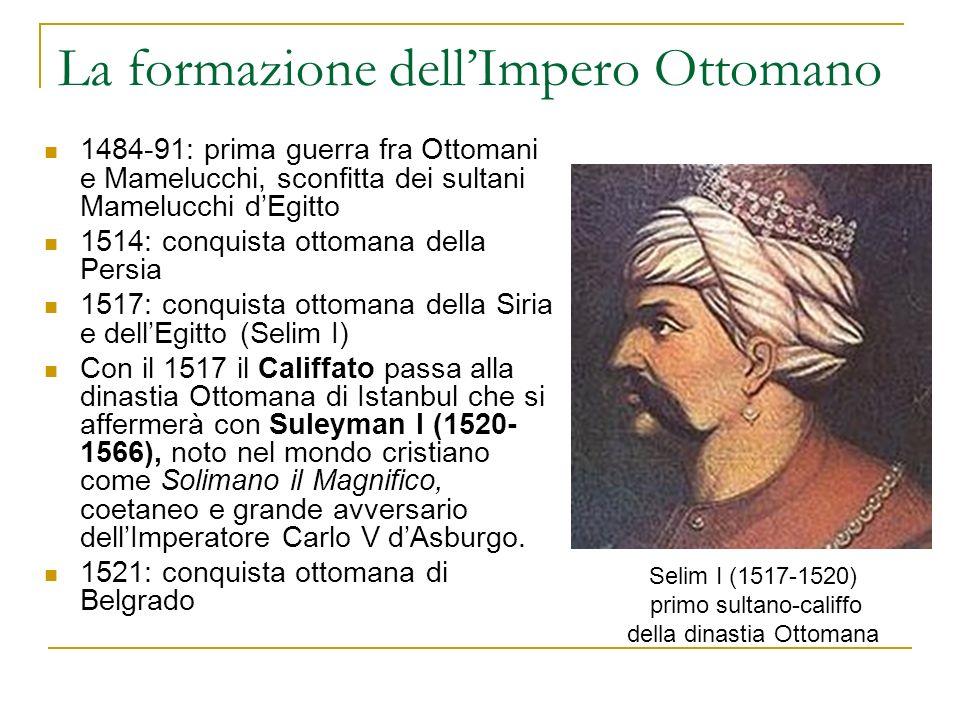 La formazione dellImpero Ottomano 1484-91: prima guerra fra Ottomani e Mamelucchi, sconfitta dei sultani Mamelucchi dEgitto 1514: conquista ottomana d