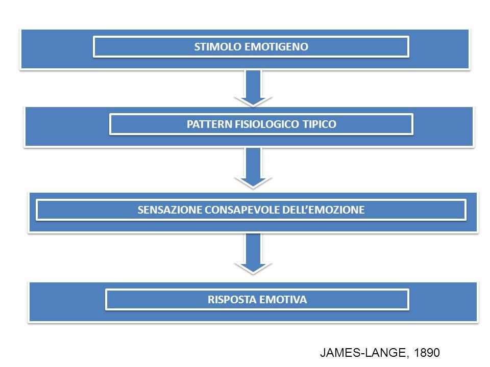 STIMOLO EMOTIGENO PATTERN FISIOLOGICO TIPICO RISPOSTA EMOTIVA JAMES-LANGE, 1890 STIMOLO EMOTIGENO SENSAZIONE CONSAPEVOLE DELLEMOZIONE