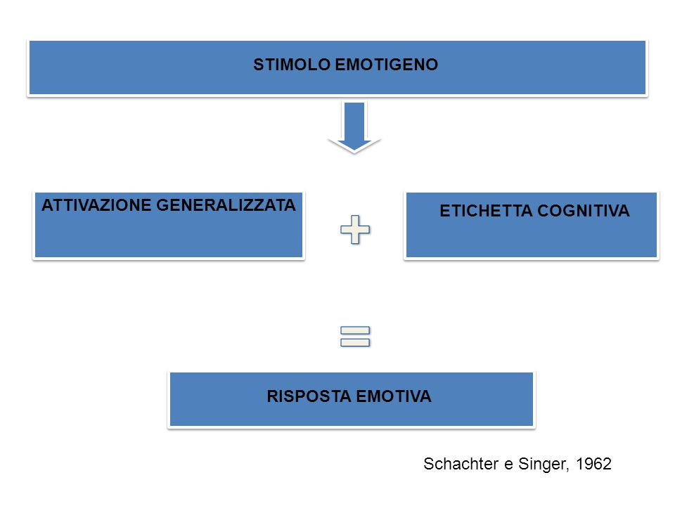STIMOLO EMOTIGENO ATTIVAZIONE GENERALIZZATA ETICHETTA COGNITIVA RISPOSTA EMOTIVA Schachter e Singer, 1962