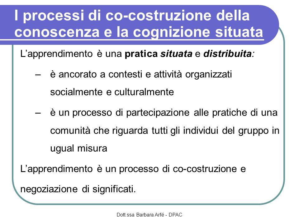 I processi di co-costruzione della conoscenza e la cognizione situata Lapprendimento è una pratica situata e distribuita: –è ancorato a contesti e att