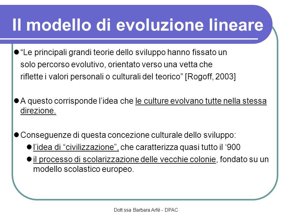 Il modello di evoluzione lineare Le principali grandi teorie dello sviluppo hanno fissato un solo percorso evolutivo, orientato verso una vetta che ri