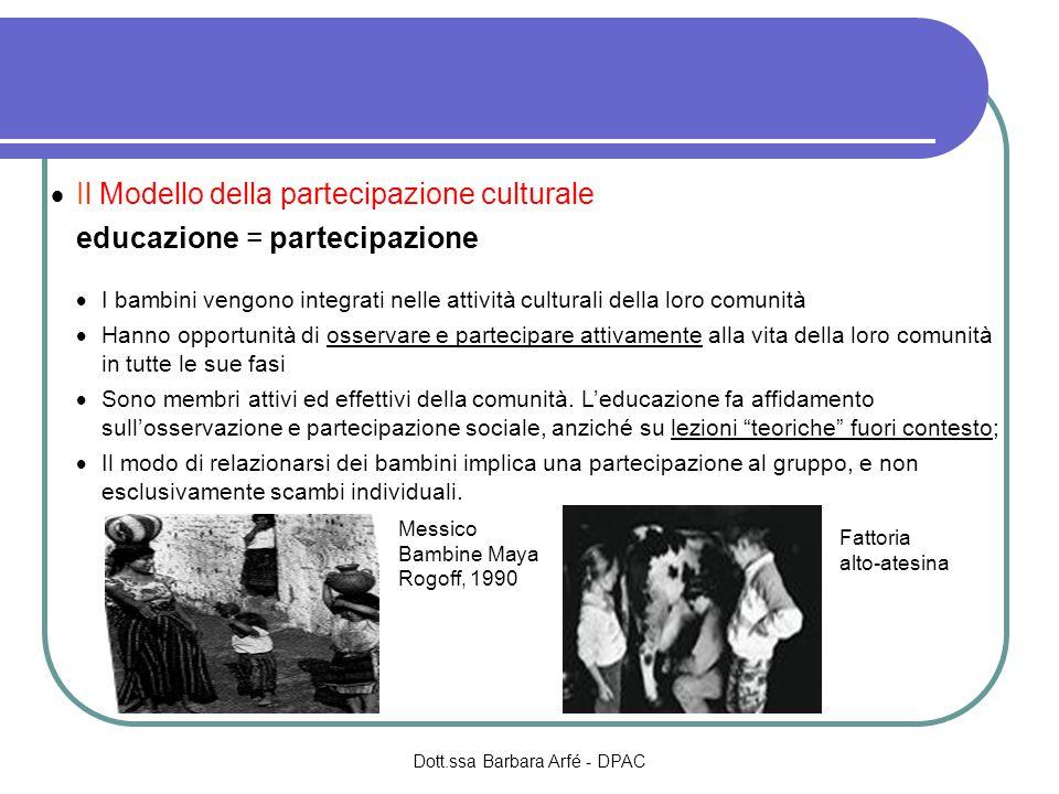 Il Modello della partecipazione culturale educazione = partecipazione I bambini vengono integrati nelle attività culturali della loro comunità Hanno o